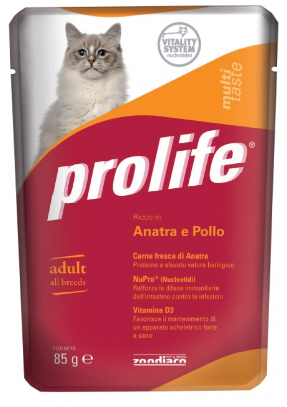 Complete pet food for cats full of fresh salmon, shrimps and carrots.
