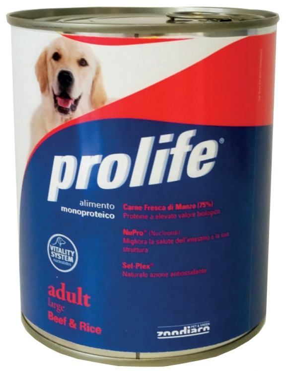 Complete pet food full of fresh chicken with rice for dogs from 16 months old.