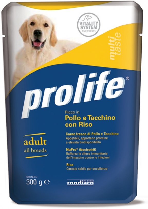 Complete pet food for dogs full of beef and veal fresh meat with potatoes.