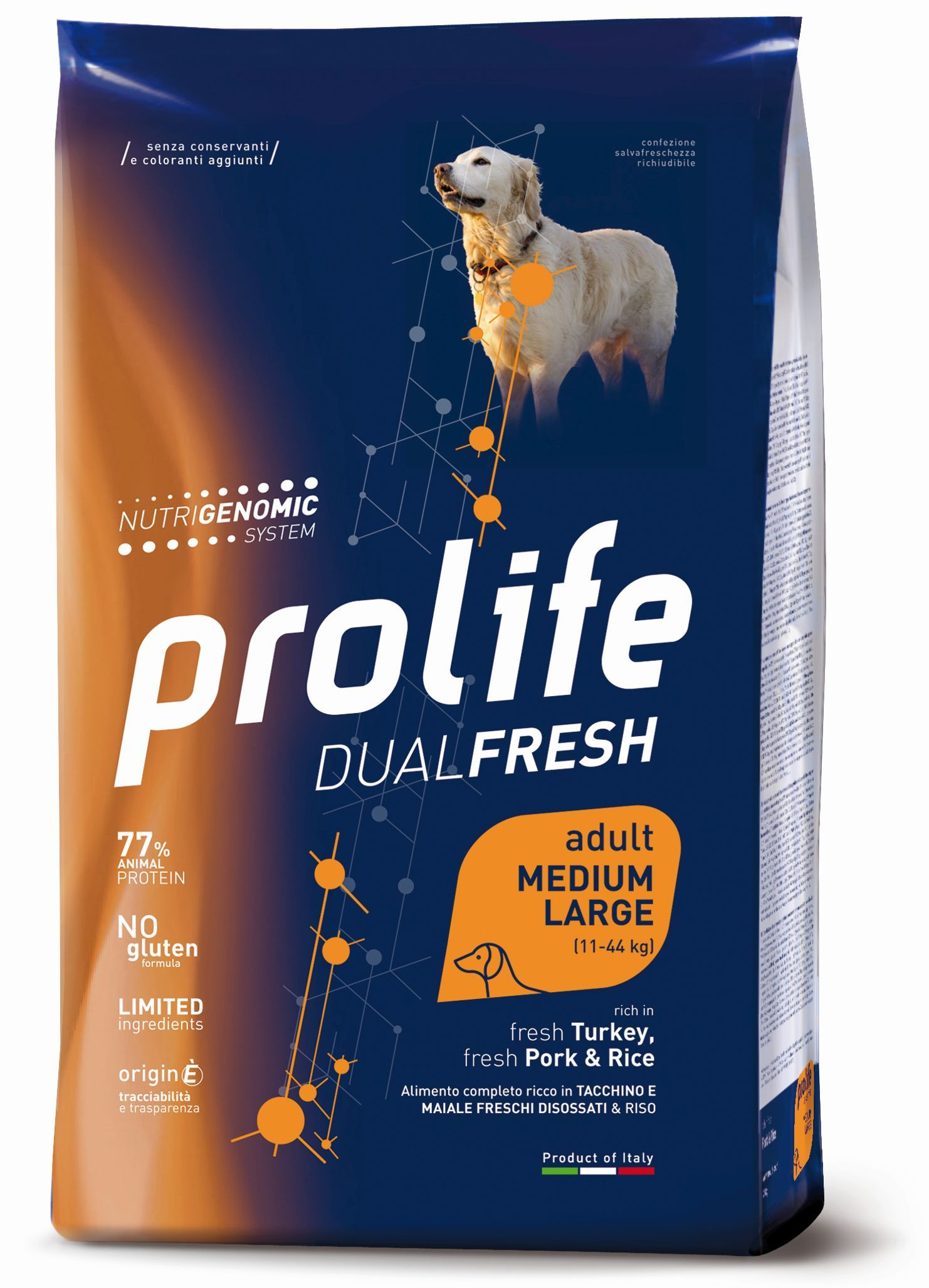 Complete pet food, rich in fresh deboned chicken and rice for giant breed puppies.