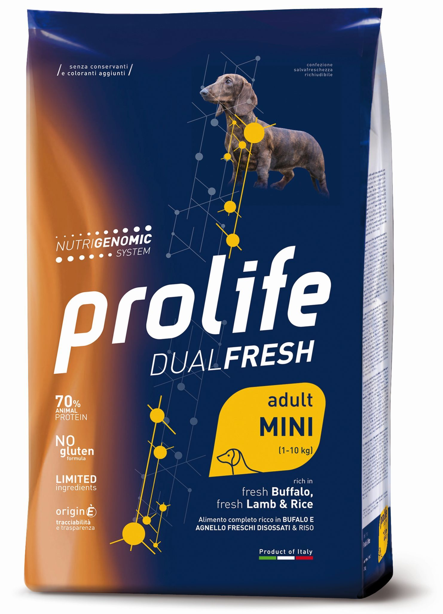 Complete pet food, rich in fresh deboned salmon, fresh deboned codfish and rice.